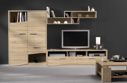Palace Contemporary Compete Media System in White, Sawn Oak or Plum
